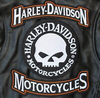 HARLEY ROCKERS WILLIE G. SKULL Motorcycle Jacket Vest BACK PATCH large 3pc. Set