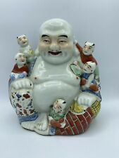 Vintage Hand Painted Chinese Porcelain Laughing Smiling Buddha Figure 5 Children