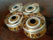 4 Guitar CTS Split shaft speed volume / tone knobs. Gold/Pearl white/Black.. JAT