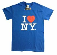 I Love NY New York Short Sleeve Screen Print Heart T-Shirt Royal Blue NYC Tee