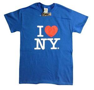 I Love NY New York Short Sleeve Screen Print Heart T-Shirt Royal Blue NYC Tee