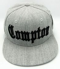 COMPTON Snapback Hat Cap CPT Flat Bill South Central LA Cali Heather Gray New