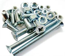 M3 - M4 MACHINE SCREWS POZI COUNTERSUNK BOLTS AND NUTS ZINC CSK -CHOICE.