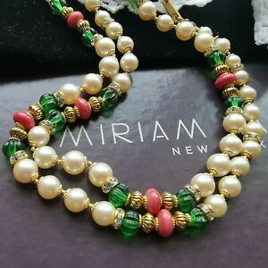 """HASKELL Necklace 26"""" Faux Pearl Green Côtelé & Coral Glass Beads Gold Gilt Brass"""