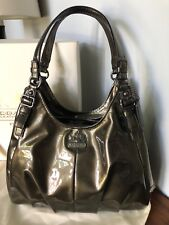 Authentic COACH 18760 Madison Maggie Patent Leather pewter hobo bag