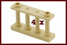 4 x LEGO Fence 1 x 4 x 2 Spindled with 4 Studs tan new