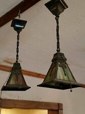 Pair Antique Arts/Craft Pendant Lights Slag Glass Mission Style Some Damage