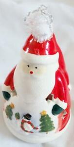 Santa Claus Figure Christmas Decor Candle Holder ceramic Luminary Tea Light
