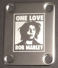 GUITAR NECK PLATE Custom Engraved Etched - One Love BOB MARLEY - Chrome