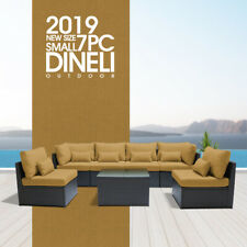 DINELI7PSmall  Outdoor Patio Furniture Rattan Wicker Sectional Sofa Chair Set Dg