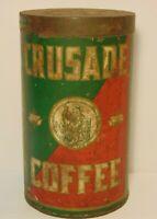 Rare Old Vintage 1920s CRUSADE COFFEE TIN 3 POUND GRAPHIC BOSTON MASSACHUSETTS