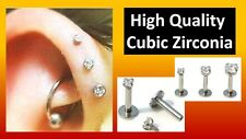3Pc CUBIC ZIRCONIA Tragus Lip Ring Monroe Ear Cartilage Helix Studs Piercing