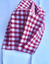 ADULT UNISEX RED GINGHAM HANDMADE WASHABLE DOUBLE SIDED FACE MASK COVERING