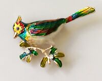 Bird  brooch in enamel on gold Tone Metal with crystal
