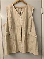 LIZ CLAIRBORNE Elizabeth 100% Linen Tunic Pin Stripe Vest Womens Plus Size 20
