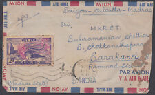 1956 Vietnam Saigon-Calcutta-Madras Airmail; to Sarakanei B/S; India