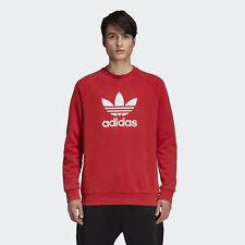 (tg. Small (taglia produttore S)) adidas Trefoil Crew Felpa Uomo Rosso (p7y)