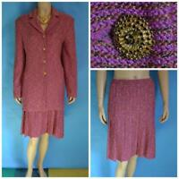 St. John Collection Tweed Pink Gold Jacket & Skirt XL L 12 14 2pc Suit Buttons