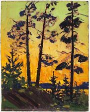 Tom Thomson Pine Trees at Sunset Giclee Canvas Print