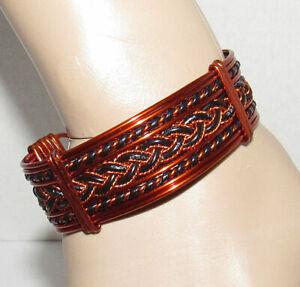 "Copper Wire Cuff Bracelet 1"" Wide Ornate Adjustable"