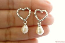 Sterling Silver Heart Pearl Dangle Drop Stud Post Earrings