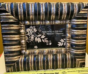 """Sheffield Home Black & Gold Bold 3""""W Wooden Frame 8"""" x 11"""" Holds 4"""" x 6"""" Picture"""