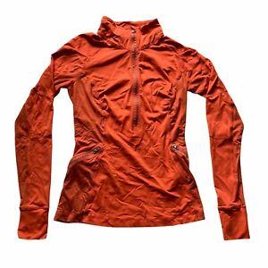 LuLuLemon Women's Orange Workout Active Athletic Thumbhole Zip-Up Jacket Size S.