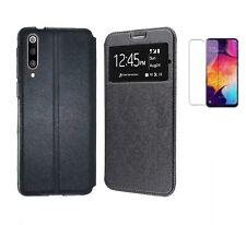 Funda Samsung Galaxy A50/A30S (6.4) NEGRO Libro ventana + Cristal Completo