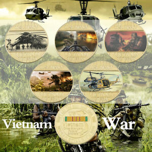 WR 5pcs Vietnam War Gold Foil Challenge Coin Once Strangers Forever Brothers