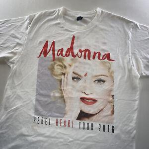 Women's Madonna Rebel Heart Tour Band Tee Shirt White Size Medium Rare