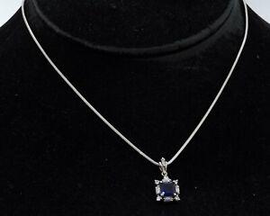 18K white gold 2.50CT VS diamond & sapphire pendant necklace