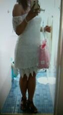 Sample white pure lace floral fitted dress size 8 (wedding dress)