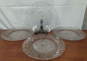 "Princess House Label FANTASIA Elegant Glass Frosted 10"" DINNER PLATES Set of 4"
