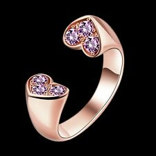 New 18K Rose Gold GP Purple Crystal Wedding Engagement Love Heart Ring Size 8