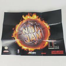 Super Nintendo SNES NBA Jam Tournament Edition Poster Insert Akklaim Vintage