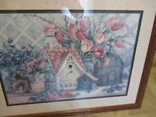 Vintage Home Interior Barbara Mock Bird cage/ birdhouse/Tulip arrangement 25x20
