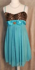 80s fancy dress blue animal print empire baby doll evening party dress size L