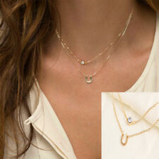 Simple Pendant Crystal Horseshoe Clavicle Chain Necklace Multilayer