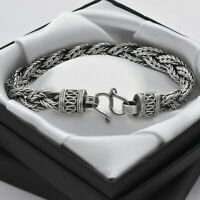 Heavy Vintage 925 Sterling Silver Woven Wheat Chain Suarti Style Boho Bracelet