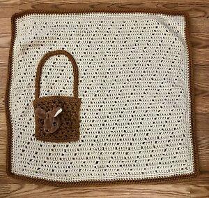 "Handmade Crocheted Kangaroo Baby Blanket Lovey Ivory Brown Pocket 32"" x 29"""