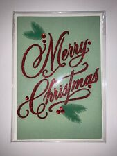 Christmas Card Hallmark Signature w/ 3-D Merry Christmas in Red Glitter