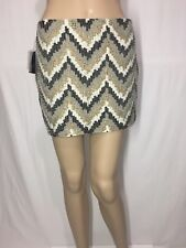 Zara Beaded Sequin Beige Gold Embroidered Mini Skirt Size Small