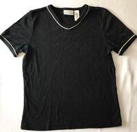 LIZ CLAIBORNE  SHORT SLEEVE TOP Black White Pipe V NECK  SIZE M 100% COTTON