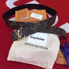 100% Auténtico Supreme X Louis Vuitton LV Initiales Cinturón Marrón 100 cm 40 mm MP016S