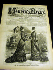 Harper's Bazar 8-10-1878  VICTORIAN FASHION Dollman Dog Saving Girl QUEEN MARY