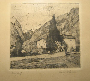Wolf Bloem 1930s German Expressionist Signed Etching Listed German Artist