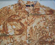 Ocean Pacific Mens Youth Brown Gold Hawaiian Casual Short SleShirt 2XL XXL Silk