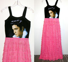 Elvis Presley 1950s Pink Ruffle Long Spaghetti Strap Full Length Cocktail Gown