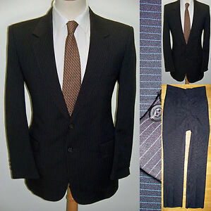 42S VTG 2pc MOD Brown Pinstriped Gangster Polyester Mens Hipster Business Suit