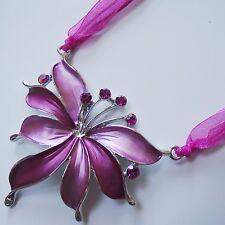 Collier Kurze Halskette Textilbandkette Anhänger Kette Strass Pink Silber